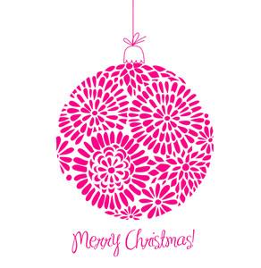 Pink Christmas Ball Illustration. -
