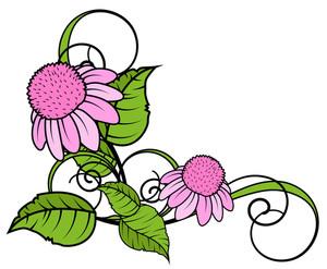 Pink Daisy Flourish Corner Frame
