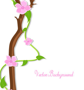 Pink Decor Flowers Branch Vector Banner
