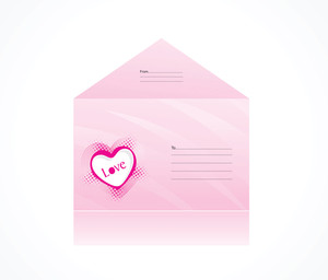 Pink Envelope With Heart Logo