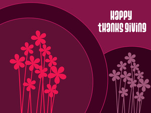 Pink Floral Background With Thanksgiving Text