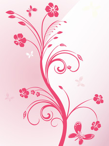 Pink Floral Pattern Card With Butterfly