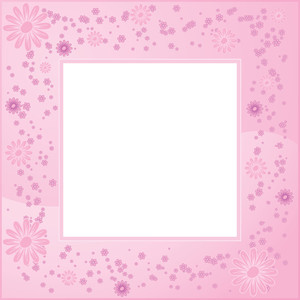 Pink Flower Vector Frame.