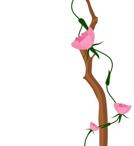 Pink Flowers Branch Design Art