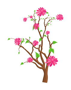 Pink Flowers Stem
