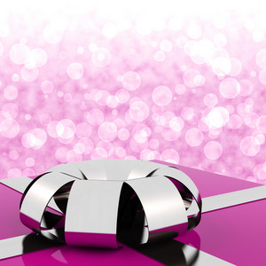 Pink Giftbox With Bokeh Background For Womens Birthday