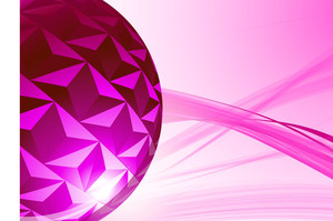 Pink Glossy Sphere. Vector Background.