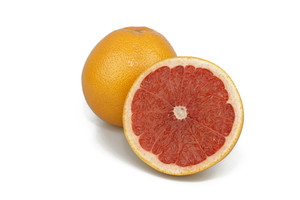 Pink Grapefruits On White Background