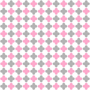 Pink, Grey, And White Quatrefoil Pattern