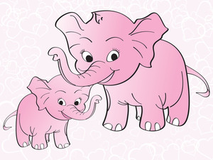 Pink Heart Background With Elephant