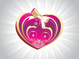Pink Heart Shape Card For Valentine
