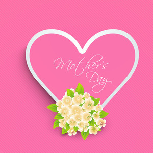 Pink Heart With Text Mothers Day And Flowers