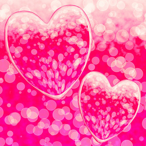 Pink Hearts Design On A Bokeh Background Showing Romance And Romantic Feelings