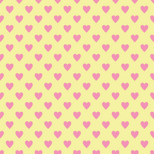 Pink Hearts Pattern On A Yellow Background