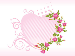 Pink Isolated Heart Shape Frame With Rose