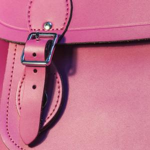 Pink leather bag closeup