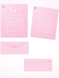 Pink Letter For Romantic Notes With Envelope Set 3