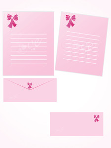 Pink Letter For Romantic Notes With Envelope Set 7