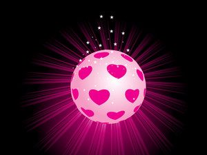 Pink Macro Pattern Ball With Rays Background