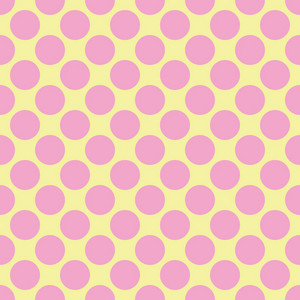 Pink Polka Dots Pattern On A Yellow Background