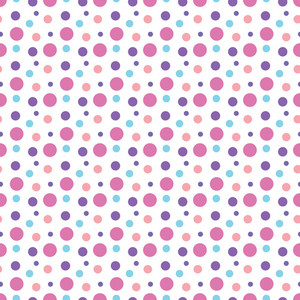 Pink, Purple, And Blue Polka Dot Pattern On A White Background