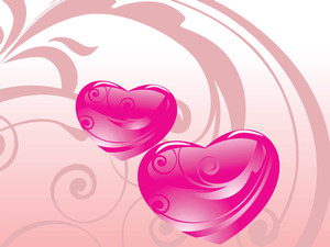 Pink Romanic Heart With Creative Background