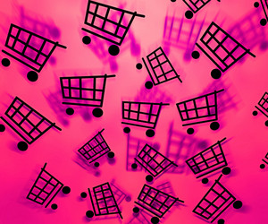 Pink Shopping Cart Background