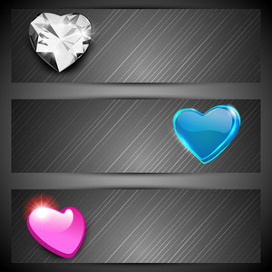 Pink, Silver And Sky Blue Hearts On Grey