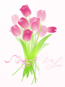 Pink Tulip Bouquet. Vector
