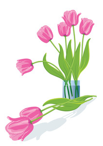Pink Tulips. Vector Illustration