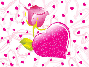 Pink Valentine With Rose Text