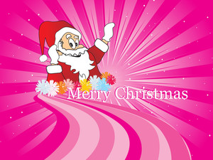 Pink Vector Background With Santa