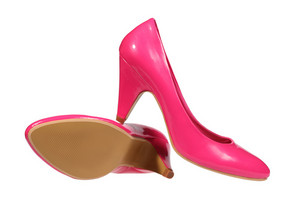 Pink Women S Heel Shoes Isolated Over White With Clipping Path