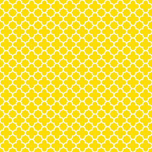 Yellow And White Quatrefoil Pattern