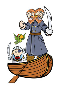 Pirate Captain And Team On Boat - Vector Cartoon Illustration