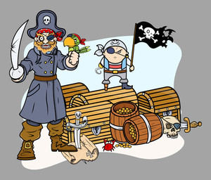 Pirate Captain Black And Team With Treasure - Vector Cartoon Illustration