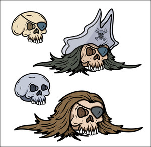 Pirate Captain Skull - Vector Cartoon Illustration