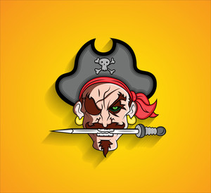 Pirate Cartoon Character Holding Sword In Mouth