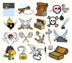 Pirate Cartoon Vectors Set