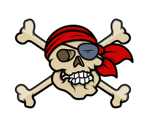 Pirate Crossed Skull Tattoo - Vector Cartoon Illustration