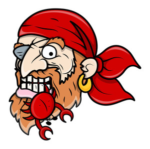 Pirate Eating Crab - Vector Cartoon Illustration