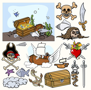 Pirate Illustrations Vector Set