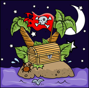 Pirate Island - Vector Cartoon Illustration