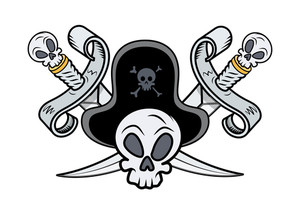 Pirate Sign - Crossed Swords And Skull - Vector Cartoon Illustration