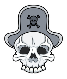 Pirate Skull - Vector Cartoon Illustration