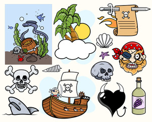 Pirate Story Cartoon Vectors