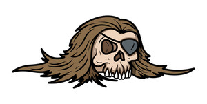 Pirate Style Eye Patched Skull - Vector Cartoon Illustration