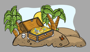 Pirate Treasure Box On An Island - Cartoon Vector Illustration