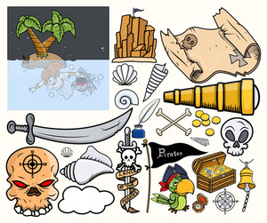 Pirate Treasure Hunt Vector Illustrations Set