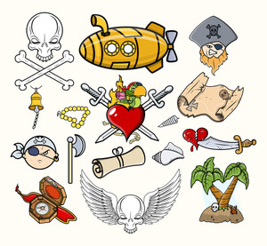 Pirate Vector Illustrations & Cartoon Icons